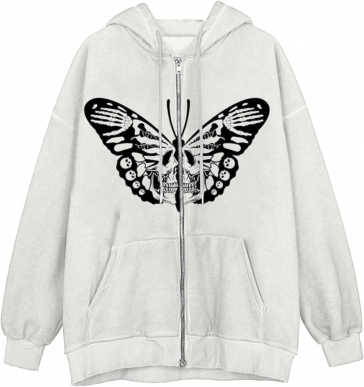 Oiumov Hoodies for Women Zip Up, Womens Sweatshirts Long Sleeve Skeleton Pocket Drawstring Hooded Jacket Coats Lighweight