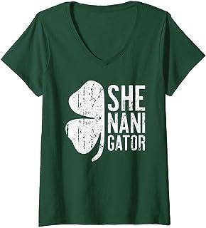Womens Shenanigator T-Shirt Saint Patrick Day Gift Shirt V-Neck T-Shirt