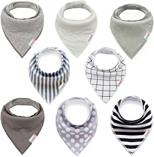 ALVABABY Baby Drool Bandana Bibs For Drooling Teething Feeding Reusable Adjustable Snap Super Absorbent 100% Cotton Unisex...