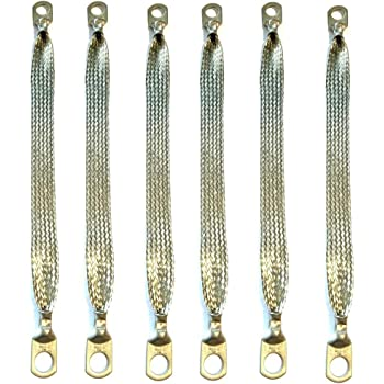 """Automotive Ground Strap 1//2/"""" in Flat Tinned Braided 3//8 5//16 terminals Lugs"""