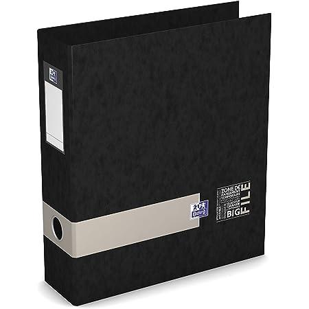 OXFORD Classeur à Levier Etudiants Big File A4XL Dos 80mm 2 Anneaux en D Couverture Carte Pelliculée Coloris Assortis