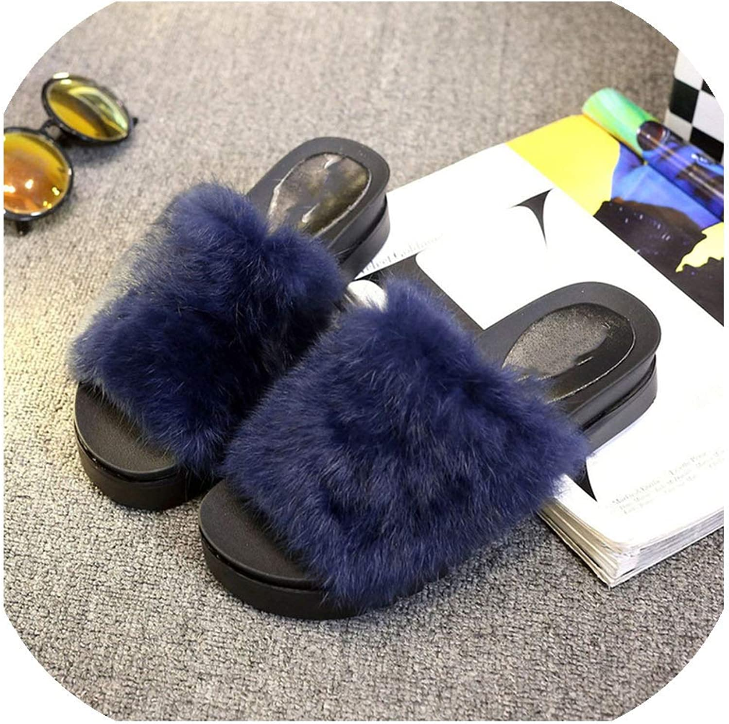 Home Rabbit Slippers Women Platform Soft Platform Casual Furry Sandals,