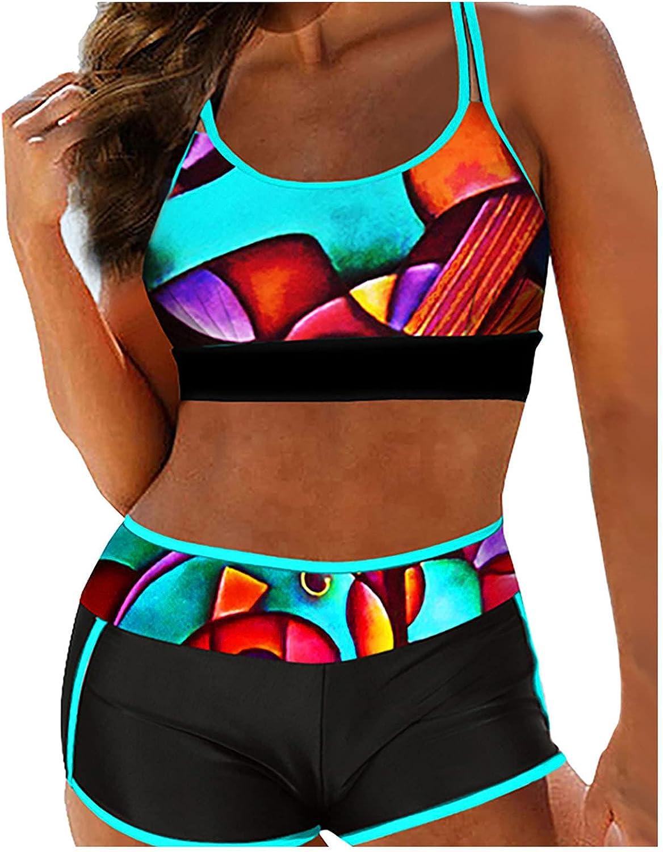 HCFKJ Women Bikini Geometric Print Bathing Splicing High Waist Bikini Swimsuit Summer Beach Pool Bathing for UK Lady