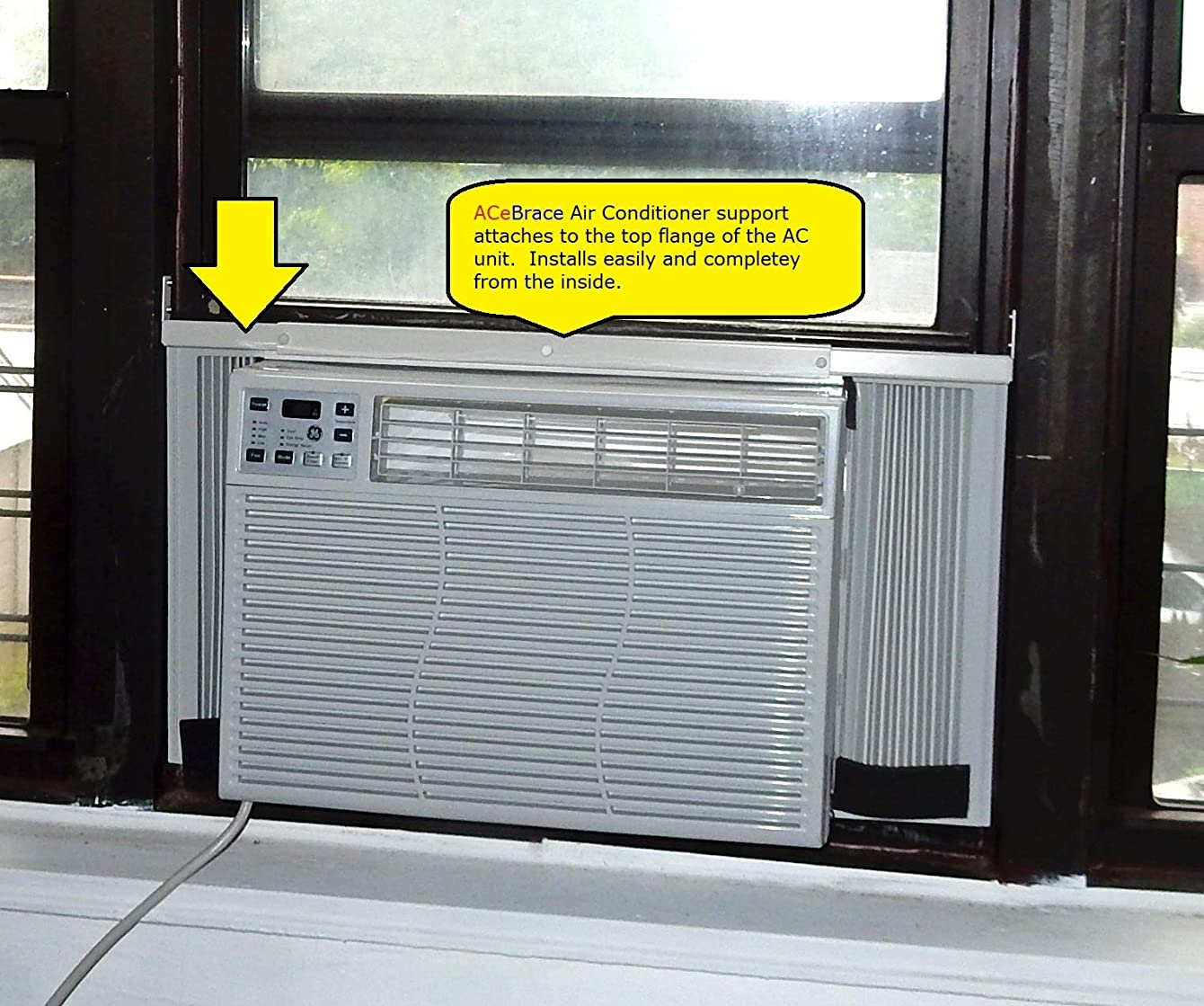 AceBrace Air Conditioner Support for Standard Window Air Conditioners - Universal AC Window Bracket- Air Conditioner Support - AC Child Protection - Window Guard and Air Conditioner Support