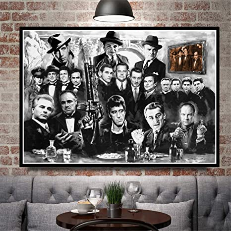 Amazon Com Jesc Wall Painting Gangsters Godfather Art Canvas Prints Room Decor Black White Paintings For Bedroom Posters Men Living