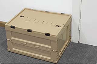 """""""N/A"""" Boîte Pliante Panier de Rangement Pliable, Contenant en Plastique avec Couvercle, Caisse empilable, 3 côtés ouvrable..."""