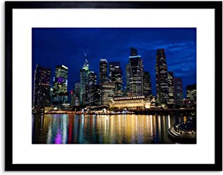 (Black) - 23cm x 18cm NIGHT SINGAPORE CITY REFLECTION SKYLINE URBAN ARCHITECTURE FRAMED WALL ART PRINT PICTURE PAINTING WOODEN PHOTO FRAME BLACK WHITE OAK BROWN F97X630