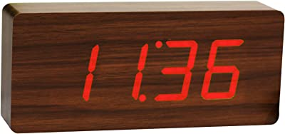 Gingko GK06R4 Holzblock-Digitaluhr 'Click Clock' Teakholz mit roter LED-Anzeige