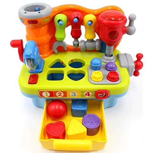 CifToys Musical Learning Workbench Toy For Kids Construction Work Bench Building Tools With Sound Effects