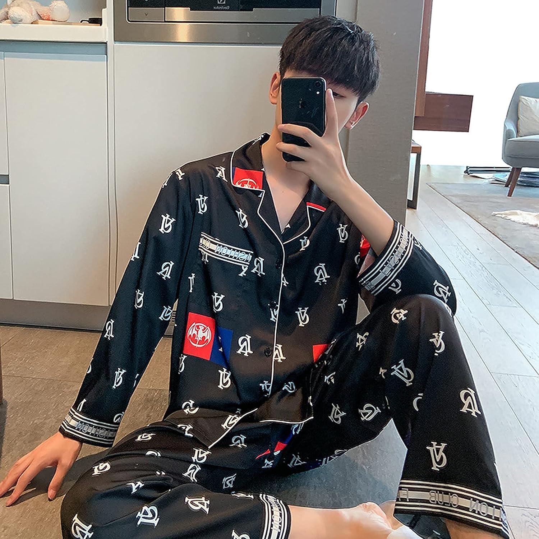ML S HJDY Pajamas Long Sleeve Satin Mens Pajamas Soft Cozy Sleepwear Clothing Sleep Tops Long Pant Silk Pajama Set,Black,XL