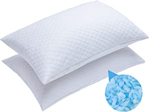 RGTIME Shredded Memory Foam Pillows for Sleeping, Queen 2-Pack, Soft with Medium-Firm Support, Washable Cover from Bamboo Derived Rayon - for Side, Back, Stomach Sleepers