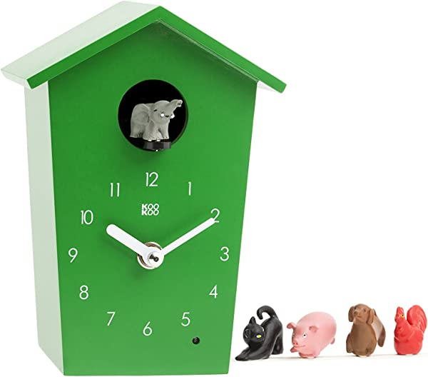 KOOKOO AnimalHouse Green Striking Small Cuckoo Clock With 5 Farm Animals Sounds Natural Field Recordings Modern Sleek Designed Clock