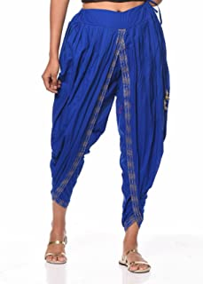 Nika Women's Cotton Hand Block Printed Dhoti Salwar by Kaanchie Nanggia (DH714_Blue_Freesize)