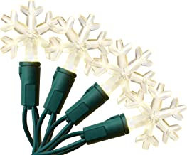 Aurio Outdoor/Indoor Christmas Lights 50-Count Snowflake LED Bulbs, 16.3FT, Warm White