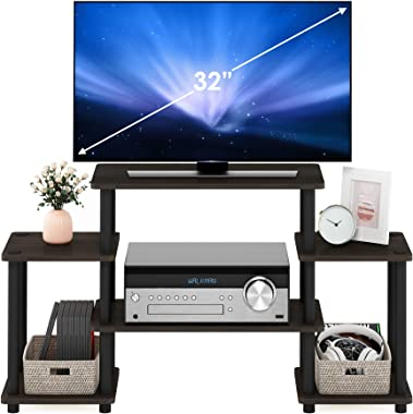 Furinno 11257DBR/BK Turn-N-Tube No Tools Entertainment TV Stands, Dark Brown/Black
