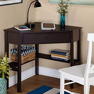 Wood Corner Computer Desk with Pullout Drawer and Shelf in Espresso