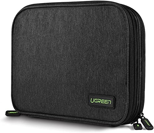 discount UGREEN Electronics Travel Organizer Accessories Cord Cable discount Storage Bag with Double Layer for Mouse, outlet online sale Power Bank, USB-C Charger, SD Card, Hard Drive, USB Charging Cable, Phone, Power Adapter Plug Black outlet sale