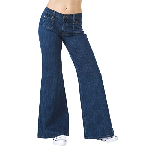 6c75f25c6b Run & Fly Womens 60S 70S Blue Denim Stretch Wide Bell Bottoms Flares Hippie  Vintage Retro