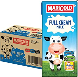 MARIGOLD Full Cream UHT Milk, Plain, 1L , Pack of 12