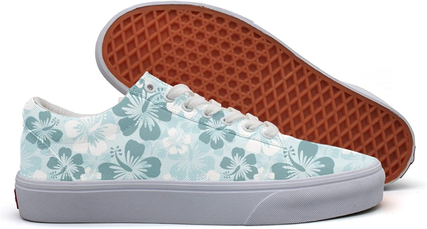 Silk Hibiscus Flowers Womens Light Canvas Running shoes Low Top Trendy Running shoes For Women's