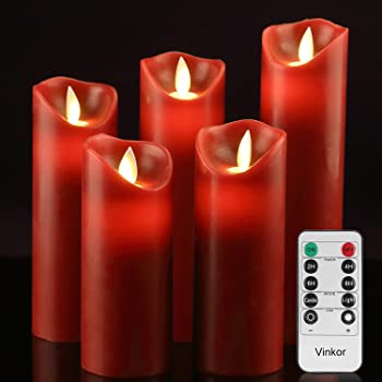 """Vinkor Flameless Candles Battery Operated Candles 4"""" 5"""" 6"""" 7"""" 8"""" Set of 5 Burgundy Real Wax Pillar LED Candles with 10-Key Remote and Cycling 24 Hours Timer"""