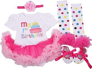 AISHIONY 4PCS Baby Girl Newborn 1st Birthday Tutu Onesie Outfit Princess Dress