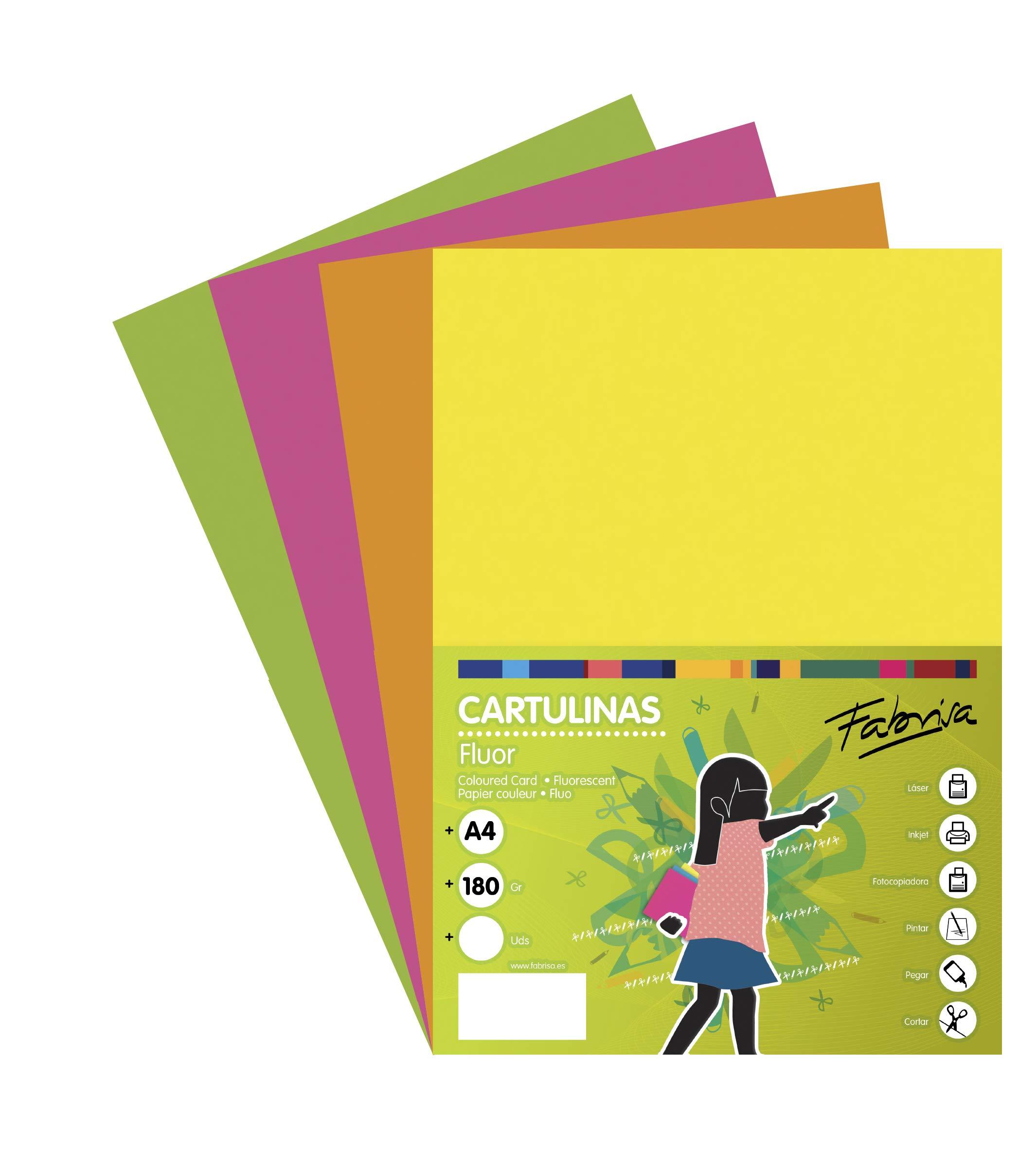 Pack 250 Cartulinas Colores Fluor Tamaño A4 180g: Amazon.es: Oficina y papelería