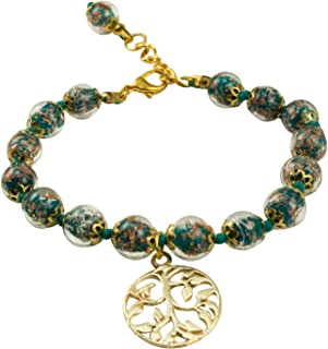 """Just Give Me Jewels Genuine Venice Murano Sommerso Aventurina Glass Bead Strand Bracelet in Teal with Tree of Life Charm 8+1"""""""