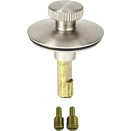 """PF WaterWorks PF0950-BN Universal n, (Twist Close) Lift and turn Bath Tub/Bathtub Drain Stopper includes 3/8"""" and 5/16"""" Fittings, No Hair Catcher, Brushed Nickel"""