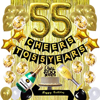 Gold 55th Birthday Decorations kit- Cheers to 55 Years Banner Balloons and Cake Topper, Happy Birthday Sash, Gold Tinsel Foil Fringe Curtains, for Birthday&Anniversary Decorations