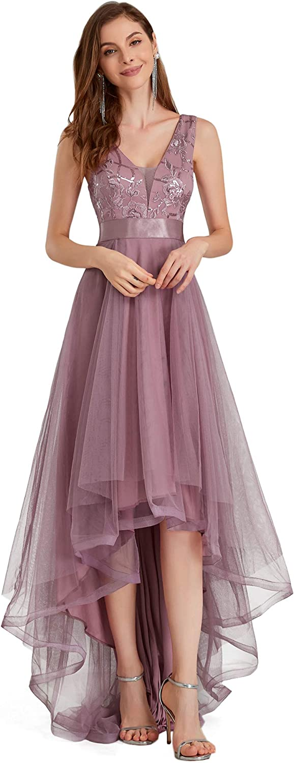 Ever-Pretty Women's V-Neck Sleeveless Appliques High Low Evening Party Dress 0793