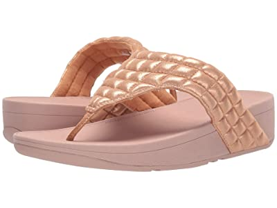 FitFlop Lulu Padded Shimmy Suede Toe Thong (Rose Gold) Women