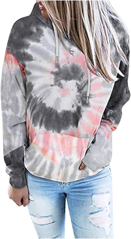 Eduavar Hoodies for Women, Womens Teen Girls Fashion Tie Dye Printed Long Sleeve Casual Pullover Hoodie Sweatshirt Tops