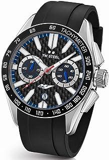 TW Steel Men's Grandeur Sport Stainless Steel Quartz Watch with Silicone Strap, Black, 24 (Model: GS2)
