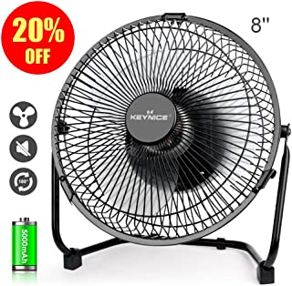 KEYNICE Battery Operated Desk Fan, 8 inches Battery Powered USB Fan, Mini Electric Table Fan for Home Office Camping, Personal Fan with 5200mAh Rechargeable Batteries, 3 Blades Cooling Fan– Black
