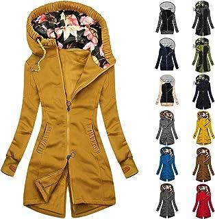 YfiDSJFGJ Hoodies for Women Funnel Neck Color Block Zip Up Tunic Sweatshirts Jackets Plus Size Long Coat Dress Hoodie