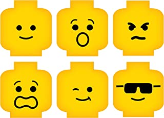 Minifig Heads Emotion Face Wall Decor Vinyl Decal Digital Print Graphic for You Kids Brick Theme Room 2469 (XSmall - 7.7 X...