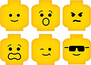 Minifig Heads Emotion Face Wall Decor Vinyl Decal Digital Print Graphic for You Kids Brick Theme Room 2469 (Med - 23 x 16.5 (7.7in ea))