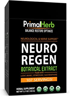 Nerve Support, Neuropathy and Nerve Pain Relief   Neuro Regen by Primal Herb     Lion's Mane Mushroom, Epimedium, Sulforap...