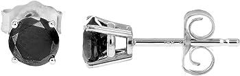 Vir Jewels 1/2 CT Black Diamond Stud Earrings 14k White Gold
