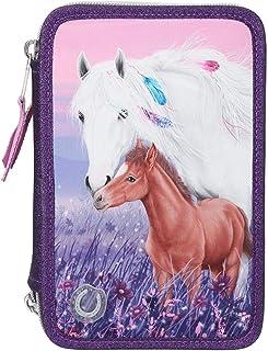 Depesche 11436 Miss Melody - Gefüllte 3-fach Federtasche mit LED und traumhaftem Pferde-Motiv, lila Federmappe ca. 7,5 x 1...