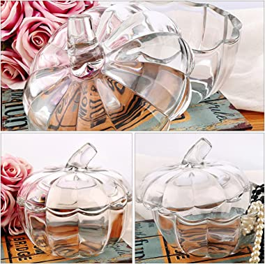TOYANDONA Glass Candy Jar Pumpkin Shaped Candy Dish with Lid Biscuit Barrel Decorative Sugar Bowl Cookie Jar for Home Party D