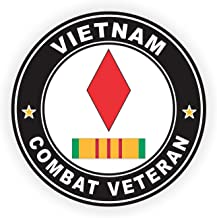 Military Vet Shop US Army 5th Infantry Division Vietnam Combat Veteran with Ribbon Window Bumper Sticker Decal 3.8