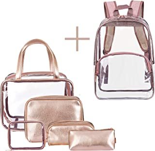 7c1e7abf8133 NiceEbag Makeup Bag Set Clear Cosmetic Bags PU Leather Make Up Pouch Travel  Toiletry Organizer with Clear Backpack for Women Girls(6 in 1,Rose Gold)