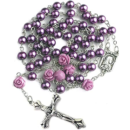 Pearl and Rose Rosary~FREE SHIPPING!