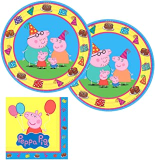 Peppa Pig Party Supplies Pack for 16 Guests Includes: 16 Dessert Plates and 16 Beverage Napkins