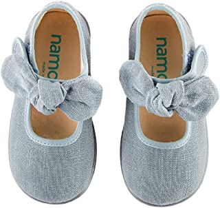 Namoo Kids Bow Linen Mary Jane, Rubber Sole, Baby-Toddler-Kid Shoe