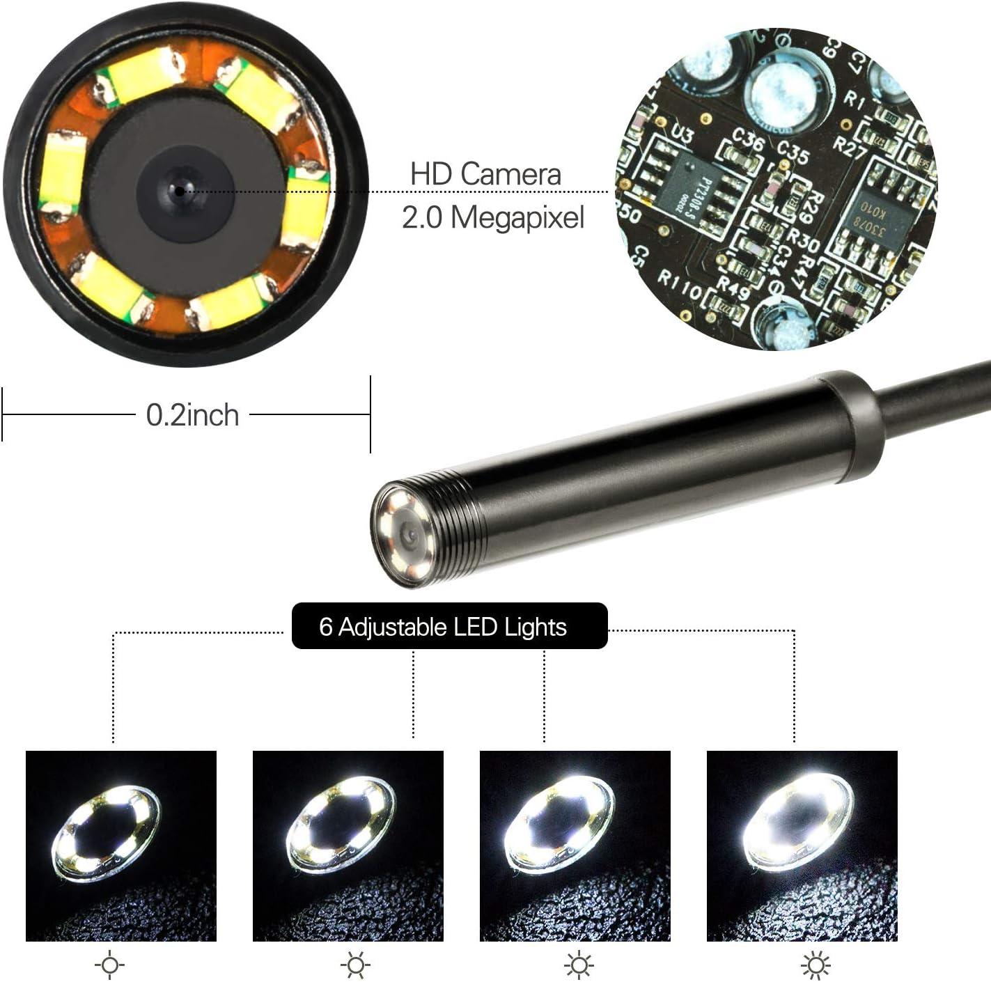 ACC Fotocamera per Endoscopio da 5,5 Mm 3 in 1 USB//Micro//Type-C Borescope Inspection Camera-HD IP67 Telecamera per Endoscopio USB Impermeabile per iPhone PC E XP,1.5M Android
