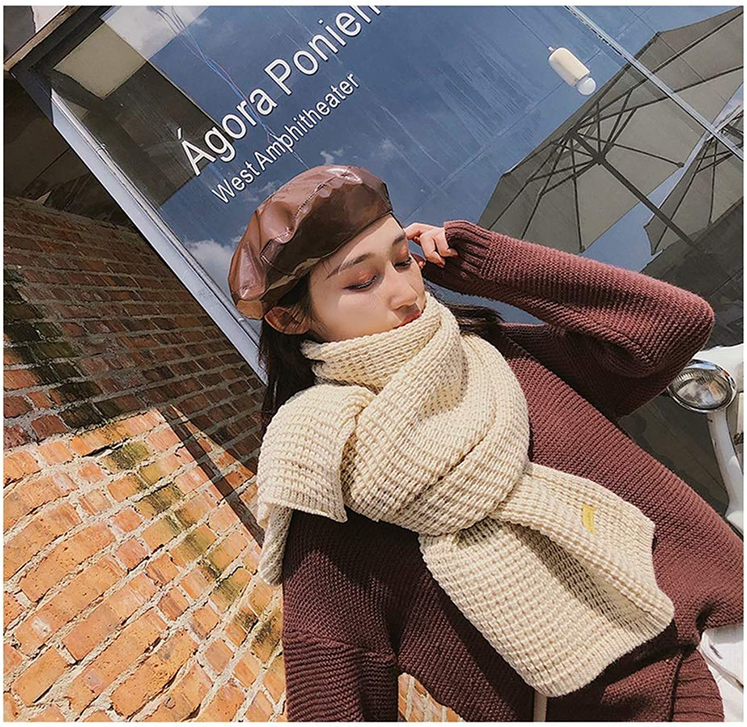Scarf Ladies Autumn and Winter New Solid color Scarf Wild Long Couple Knitted Woolen Scarf Scare Scarf (color   Beige)