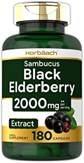 Horbaach Black Elderberry Capsules 2000mg | 180 Pills | Non-GMO, Gluten Free | Sambucus Extract Supplement